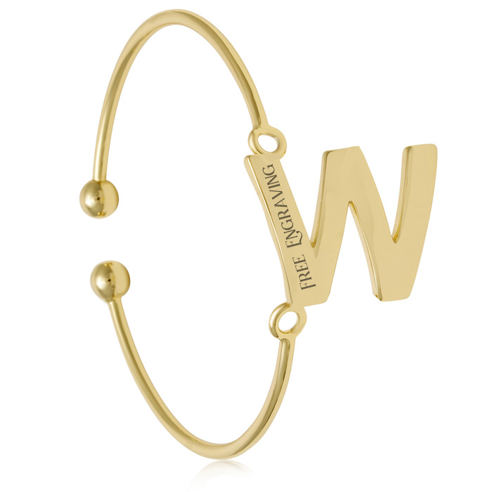 """W"" Initial Bangle Bracelet In Yellow Gold"