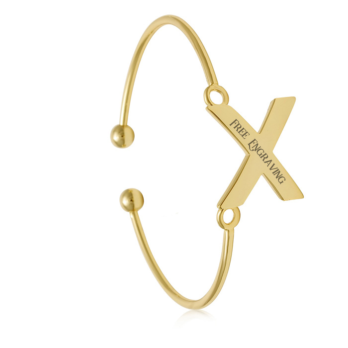 "Yellow Gold ""X"" Initial Bangle Bracelet"