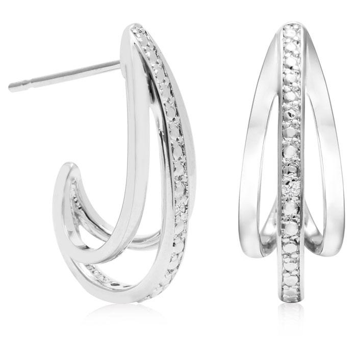 Diamond J-Hoop Earrings