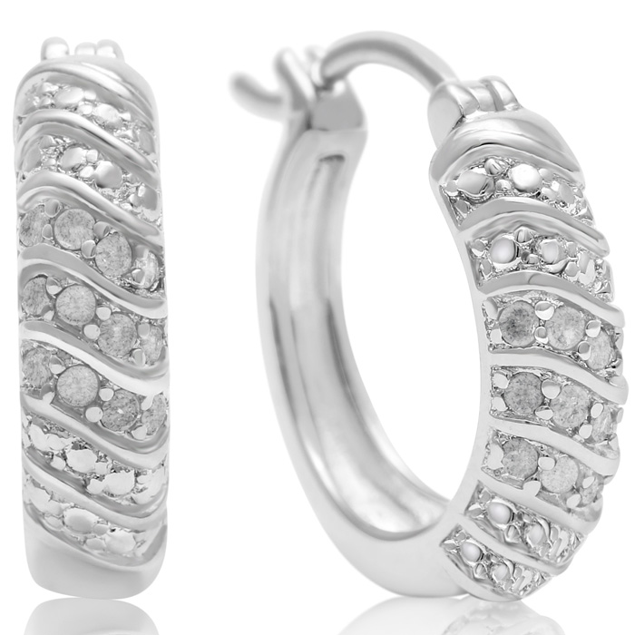 1/4ct Four Row Diamond Hoop Earrings