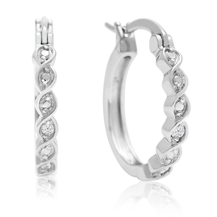 Twisted Diamond Hoop Earrings
