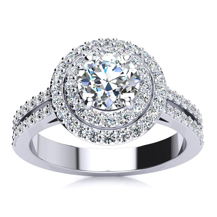 1.50 Carat Halo Engagement Ring With A 3/4 Carat Round Brilliant Center Diamond In 14K White Gold