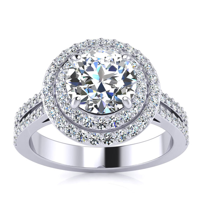 2.00 Carat Halo Engagement Ring With A 1 Carat Round Brilliant Center Diamond In 14K White Gold