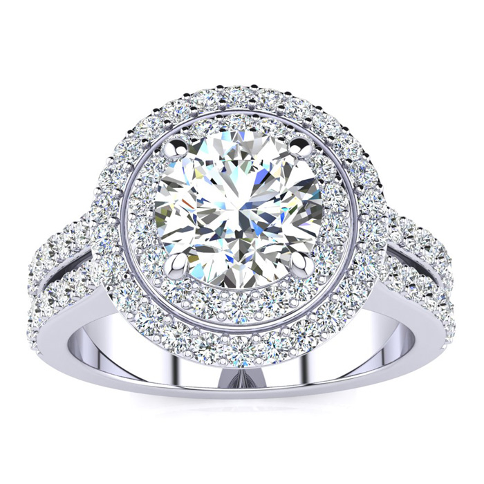 2.50 Carat Halo Engagement Ring With A 1.50 Carat Round Brilliant Center Diamond In 14K White Gold
