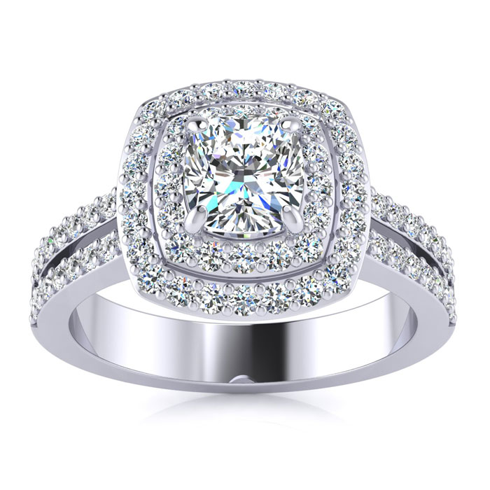1.50 Carat Halo Engagement Ring With A 3/4 Carat Cushion Cut Center Diamond In 14K White Gold