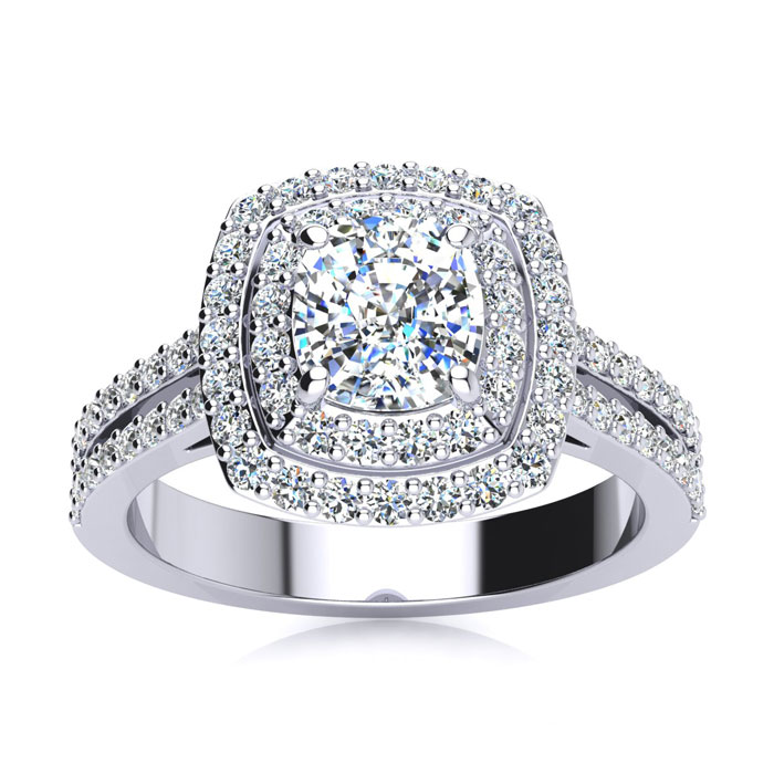2.00 Carat Halo Engagement Ring With A 1 Carat Cushion Cut Center Diamond In 14K White Gold