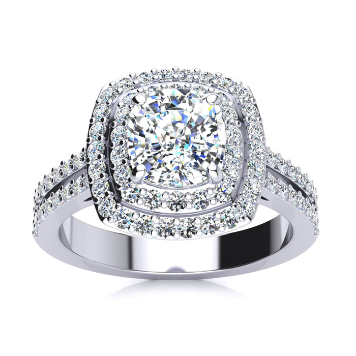 2.50 Carat Halo Engagement Ring With A 1.50 Carat Cushion Cut Center Diamond In 14K White Gold