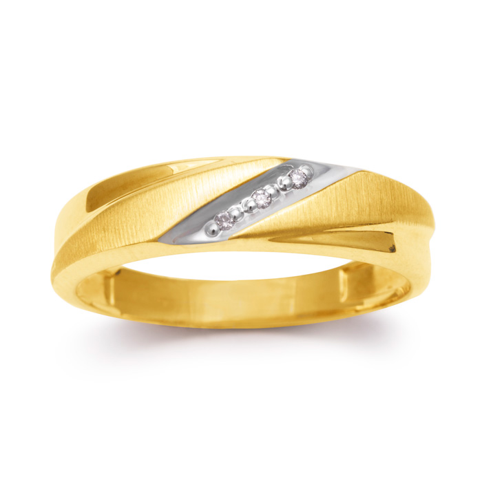 5.7mm Three Diamond Mens Satin Finished Wedding Band in Yellow Gold thumbnail