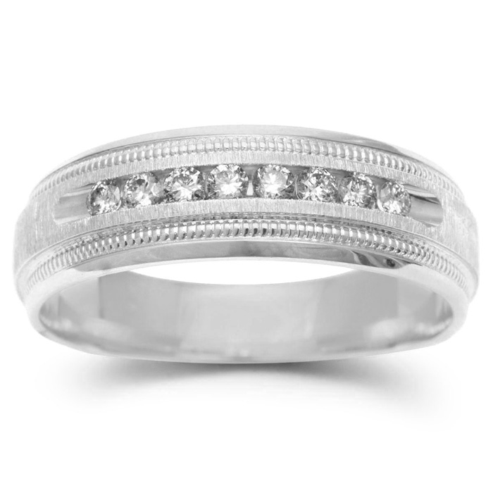 7mm .25ct Diamond Mens Satin Finished Milgrain Wedding Band in White Gold