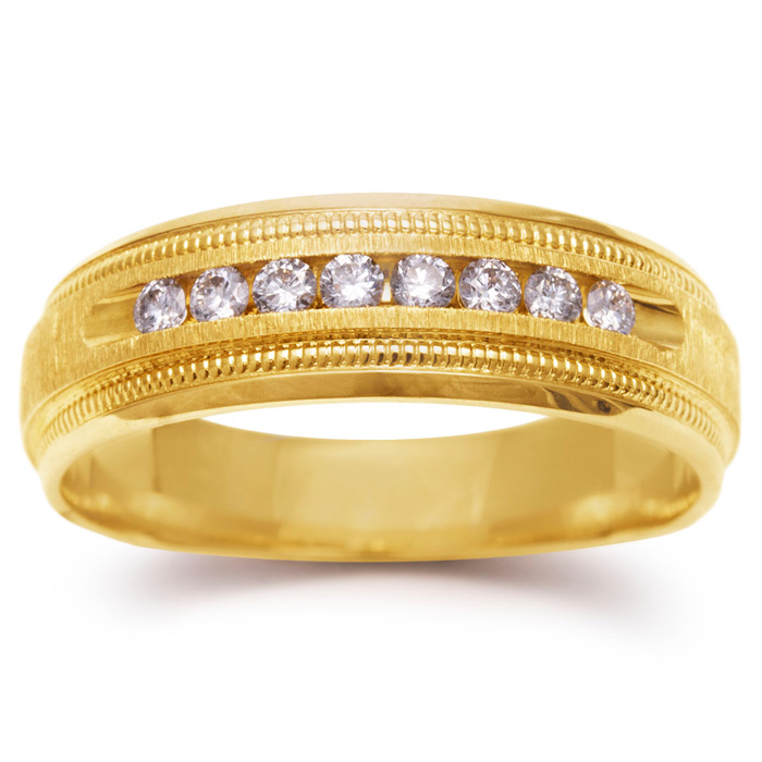 7mm .25ct Diamond Mens Satin Finished Milgrain Wedding Band in Yellow Gold