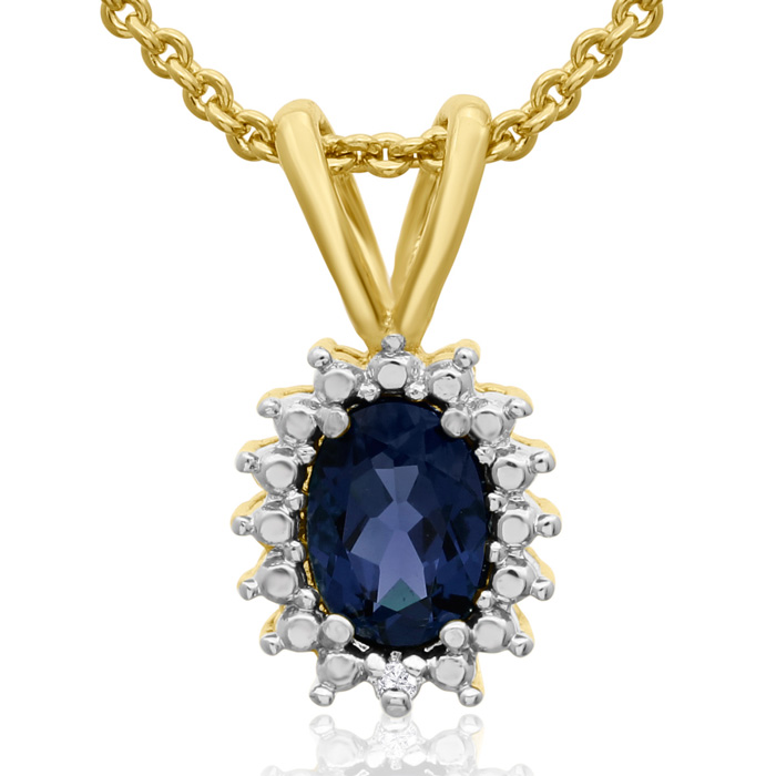 1ct Created Sapphire And Diamond Halo Necklace