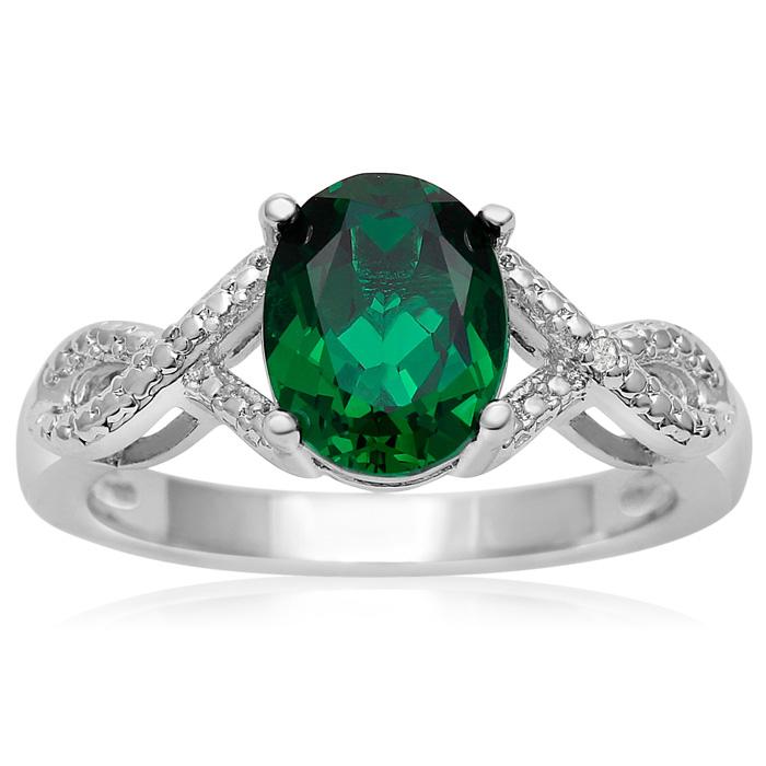 2 1/2 Carat Oval Shape Emerald and Diamond Ribbon Ring