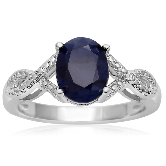2 1/4ct Sapphire and Diamond Ribbon Ring