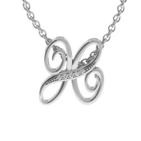 White Gold Serif H Initial Necklace With 5 Diamonds
