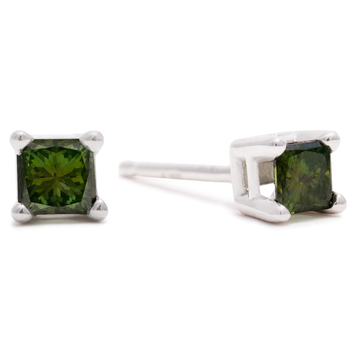 1/4 Carat Christmas Tree Green Princess Diamond Stud Earrings in White Gold