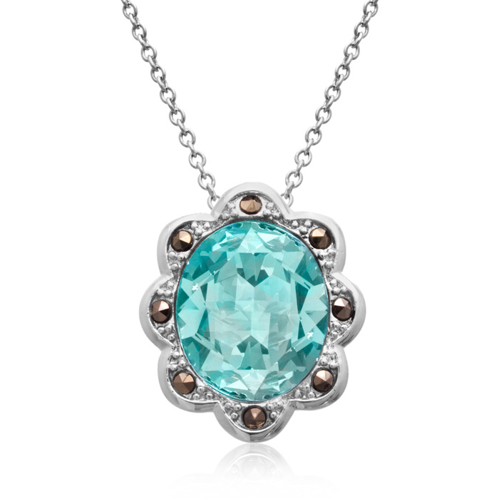 4ct Crystal Aquamarine and Marcasite Halo Necklace