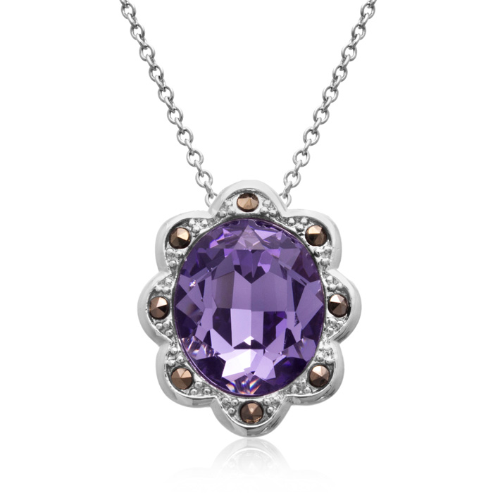 4ct Crystal Tanzanite and Marcasite Halo Necklace
