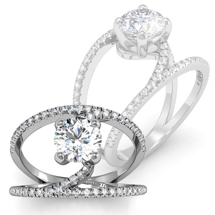 1.50ct Modern Diamond Engagement Ring in 14k White Gold
