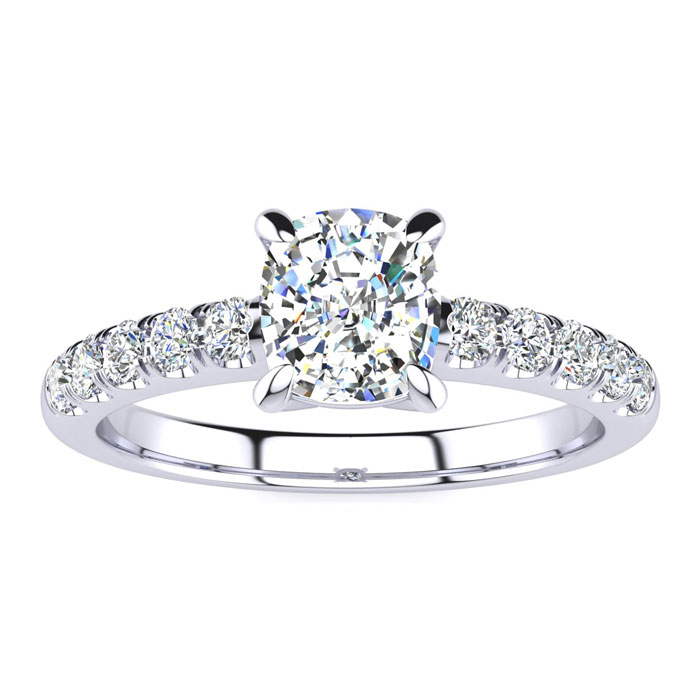 1.30 Carat Traditional Diamond Engagement Ring with 1 Carat Center Cushion Cut Solitaire In White Gold