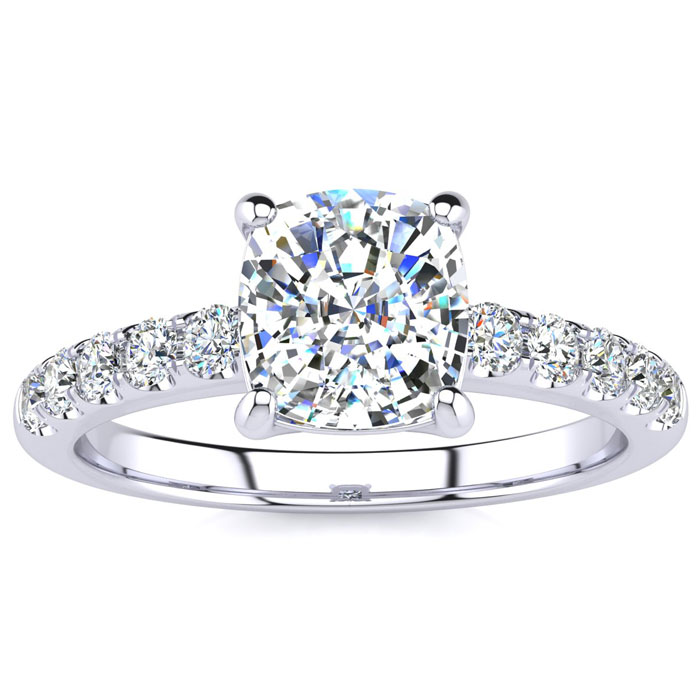 1.80 Carat Traditional Diamond Engagement Ring with 1 1/2 Carat Center Cushion Cut Solitaire In White Gold