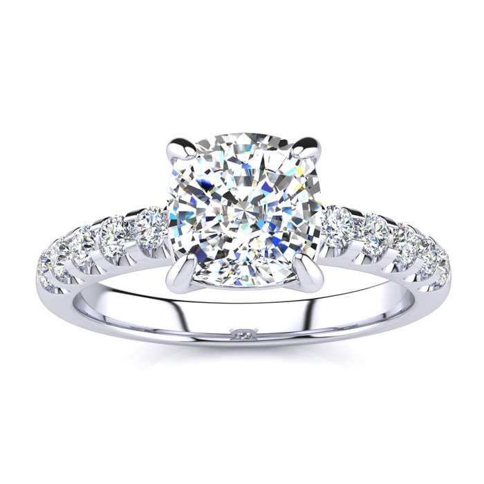 2.30 Carat Traditional Diamond Engagement Ring with 2 Carat Center Cushion Cut Solitaire In White Gold