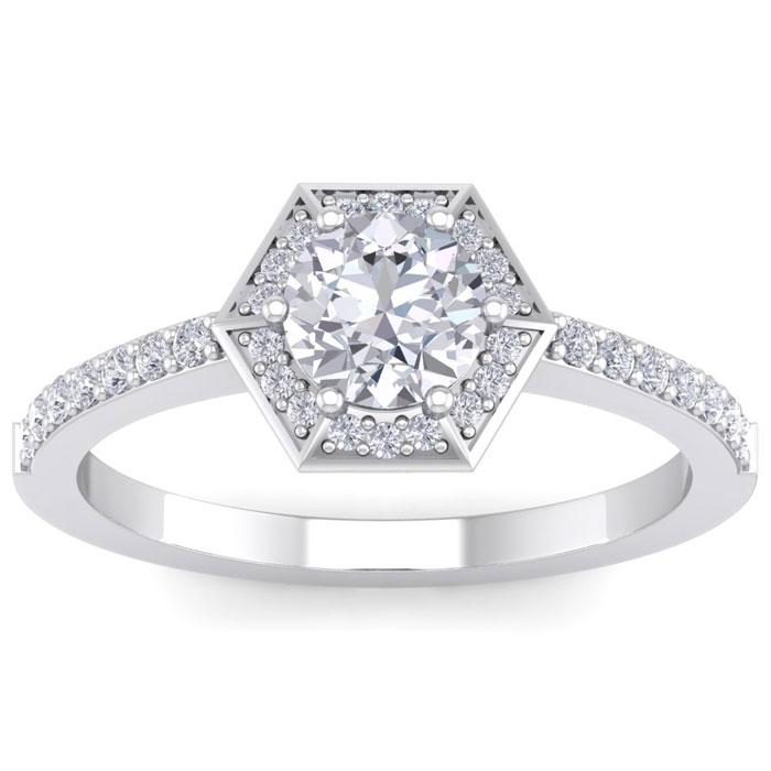 1.05 Carat Designer Engagement Ring Including .75 Carat Round Brilliant Center Diamond In White Gold