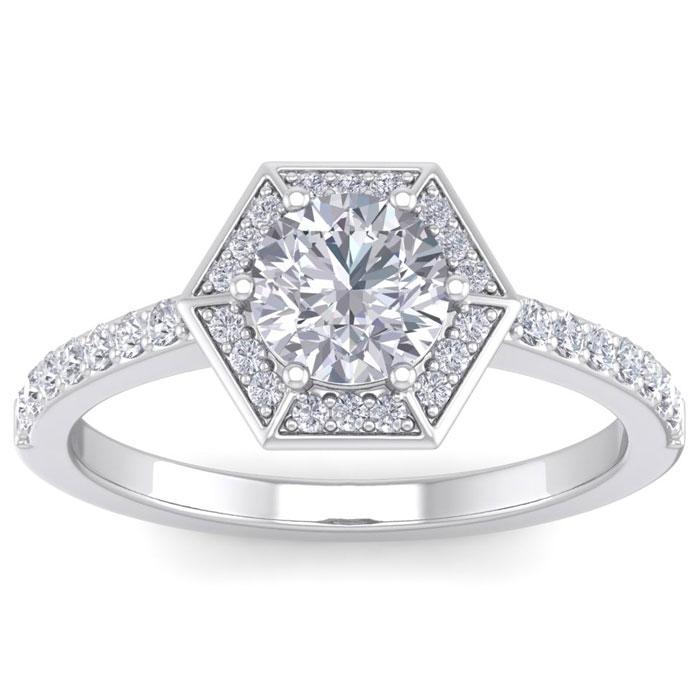 1.50 Carat Designer Engagement Ring Including 1.00 Carat Round Brilliant Center Diamond In White Gold