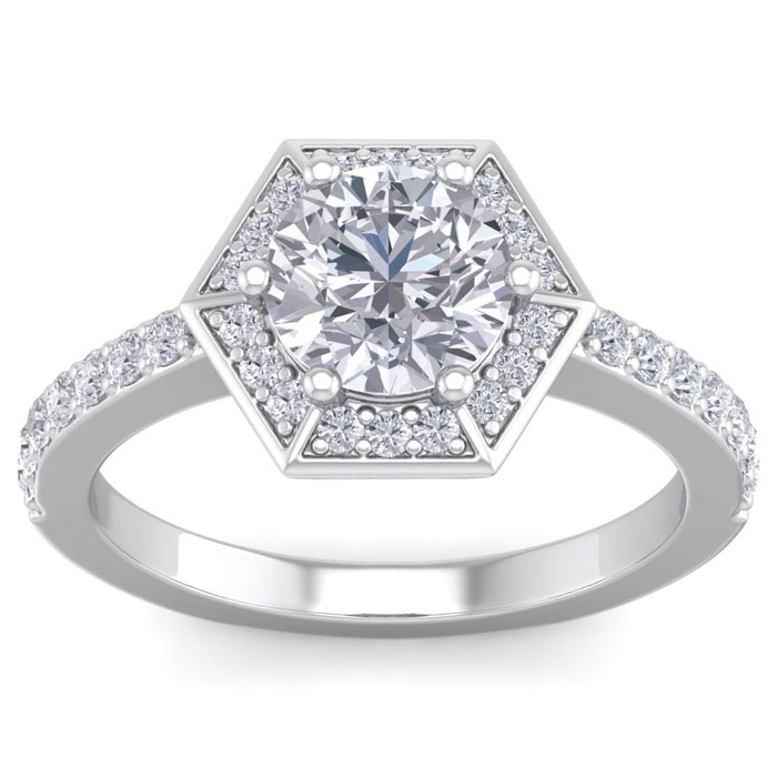 2.00 Carat Designer Engagement Ring Including 1.50 Carat Round Brilliant Center Diamond In White Gold