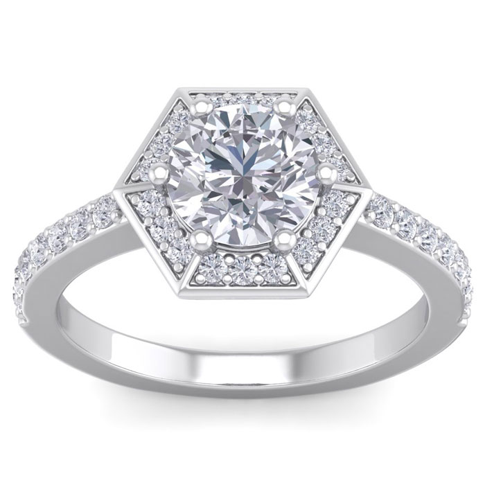 2.50 Carat Designer Engagement Ring Including 2 Carat Round Brilliant Center Diamond In White Gold