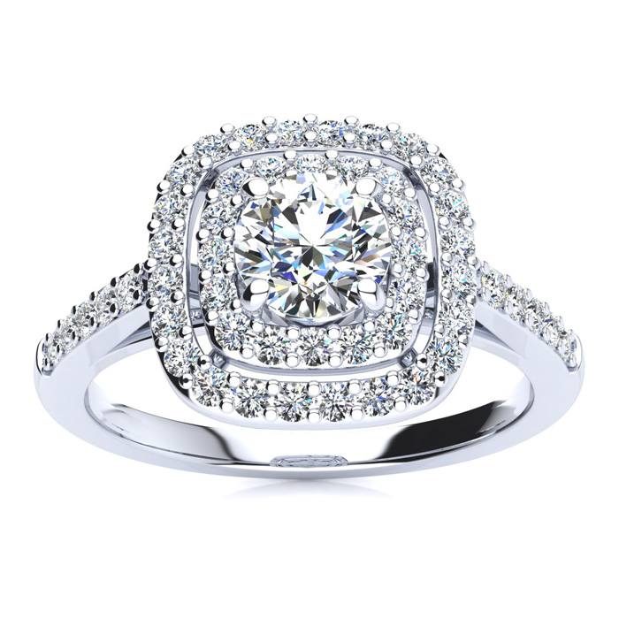 1ct Double Halo Diamond Engagement Ring thumbnail