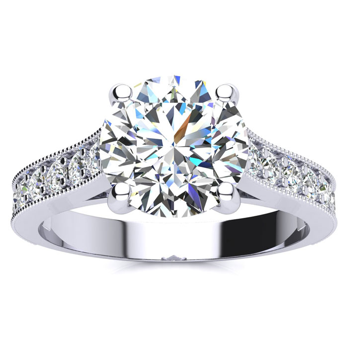 2.50 Carat Solitaire Engagement Ring With 2.00 Carat Center Diamond In 14K White Gold