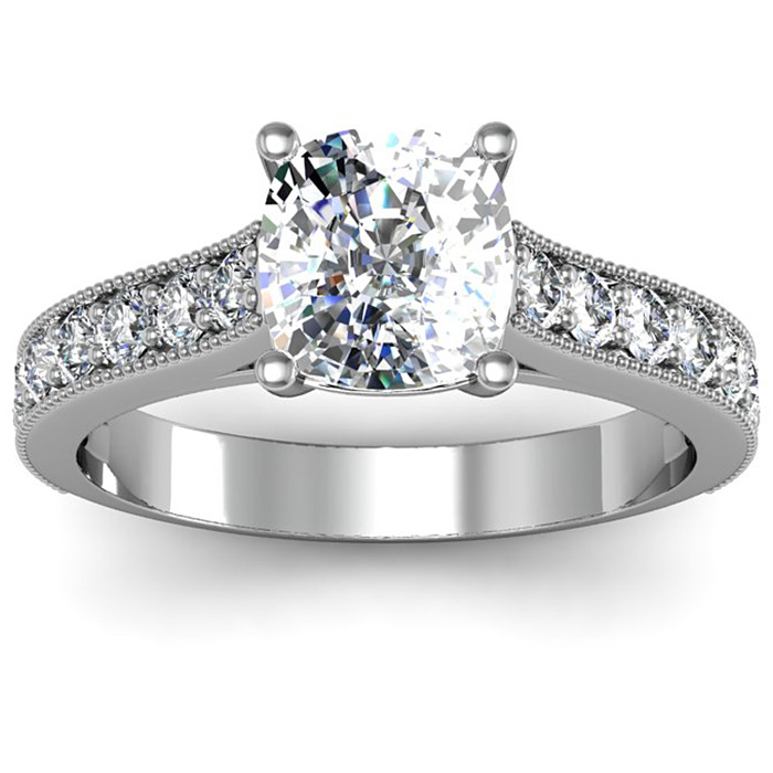 Special Purchase! 2.50 Carat Solitaire Engagement Ring With 2.00 Carat Cushion Cut Center Diamond In 14K White Gold