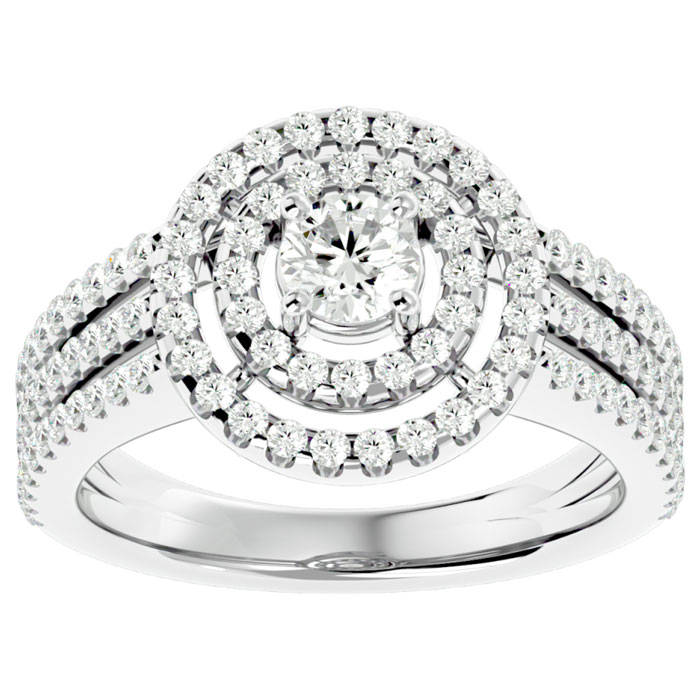 1 Carat Double Halo Massive Looking Engagement Ring In 14K White Gold thumbnail