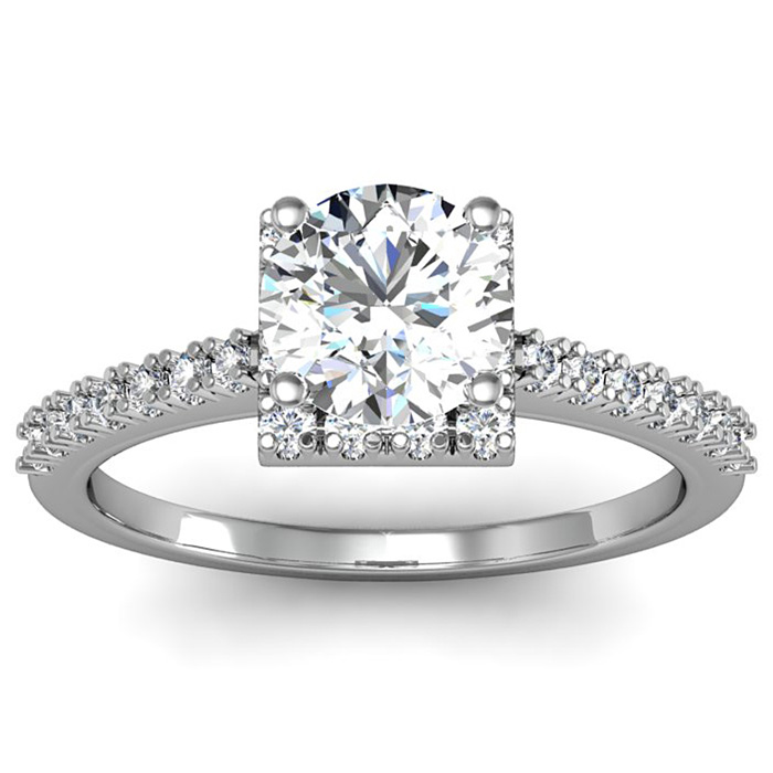 1.40 Carat Square Halo With Round Brilliant Solitaire Diamond Engagement Ring in White Gold