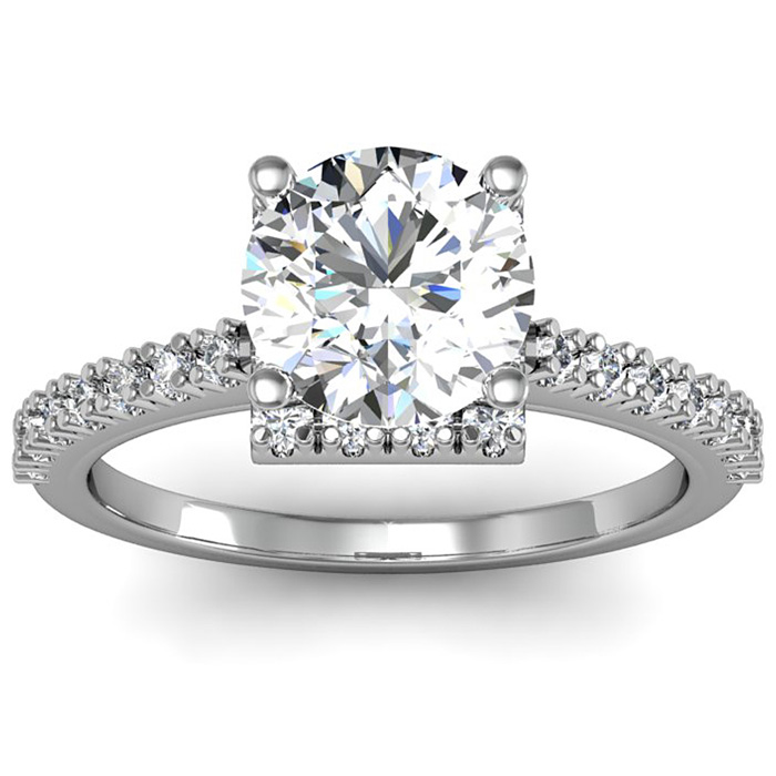 2.00 Carat Square Halo With Round Brilliant Solitaire Diamond Engagement Ring in White Gold