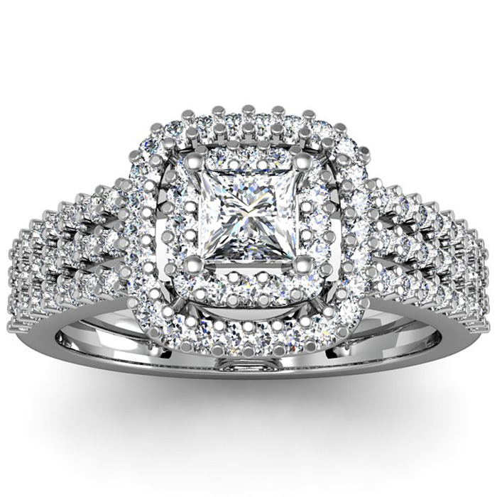 1 Carat Double Halo Massive Looking Princess Diamond Engagement Ring In 14K White Gold thumbnail