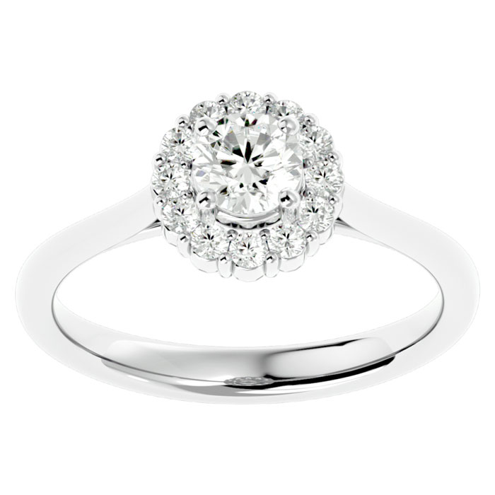 3 4 Carat Elegant Diamond Halo Engagement Ring In 14k White Gold