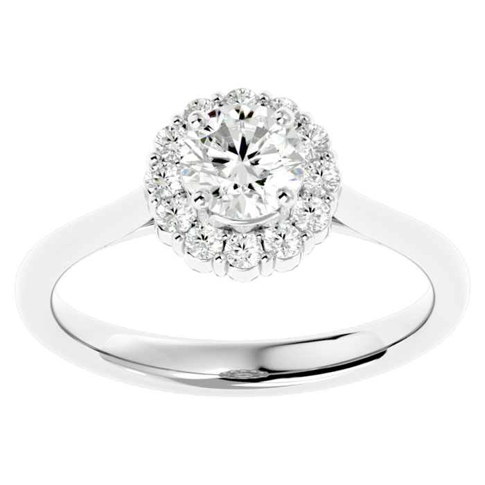 1ct Diamond Halo Engagement Ring in 14k White Gold
