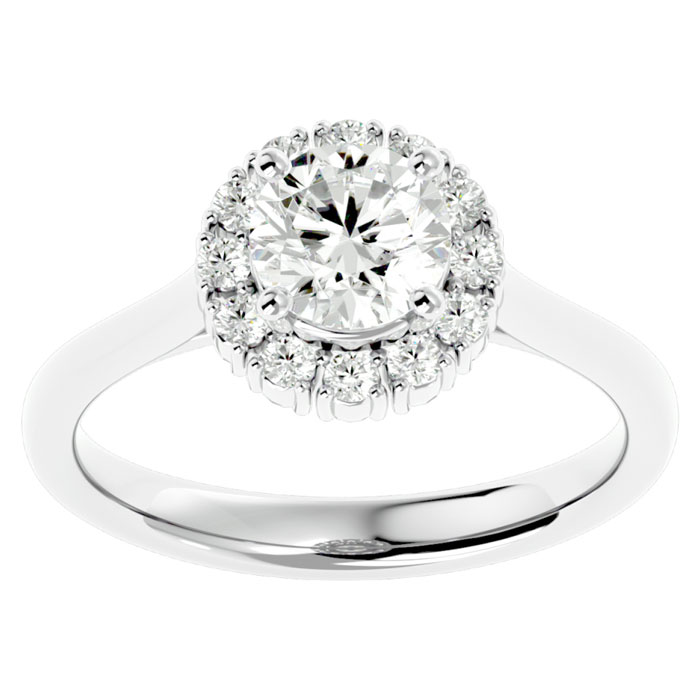 1.50 Carat Elegant Diamond Halo Engagement Ring In 14k White Gold
