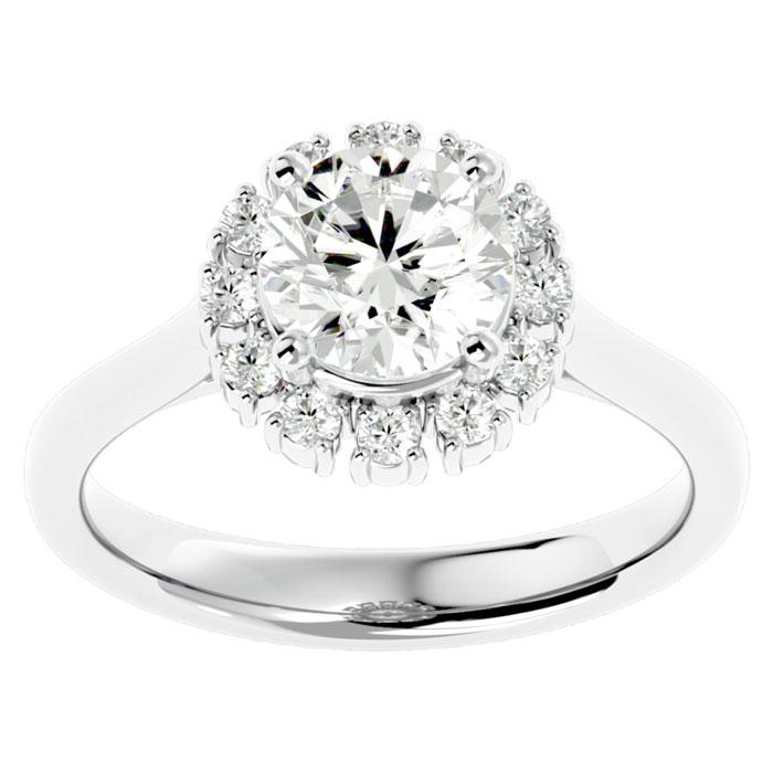 2.00 Carat Elegant Diamond Halo Engagement Ring In 14k White Gold