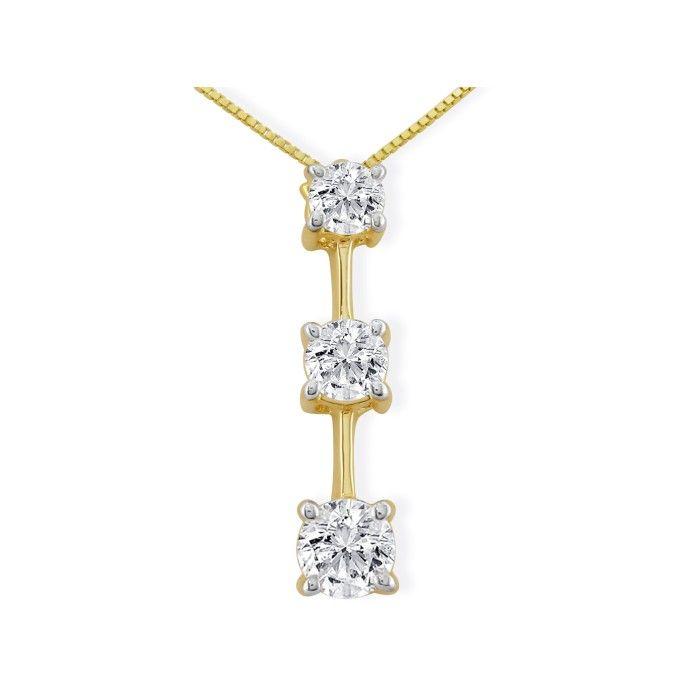 Very Popular 3/4ct Three Diamond Pendant in 14k Yellow Gold