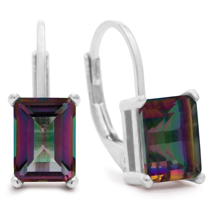 2 Carat Emerald Shape Mystic Topaz Earrings In Sterling Silver