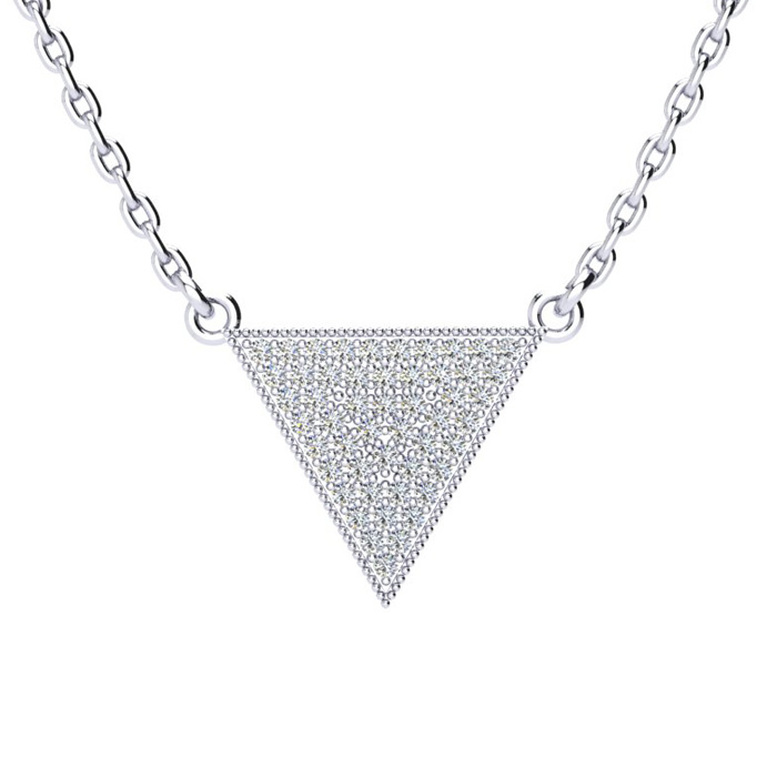 1/3 Carat Diamond Triangle Necklace, Sterling Silver, 18 Inches