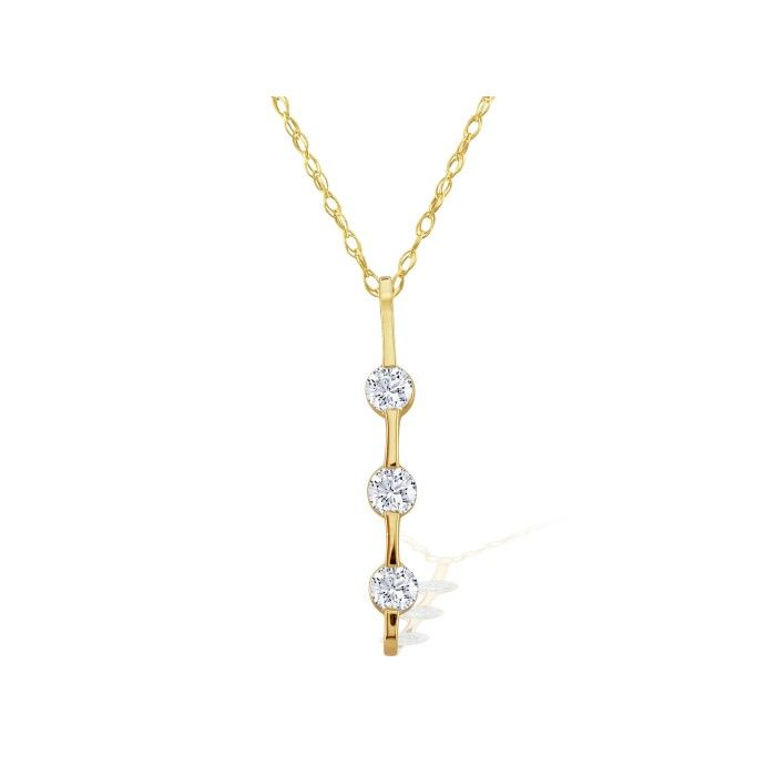 Contemporary 1/8ct Channel Set Diamond Pendant in 14k Yellow Gold