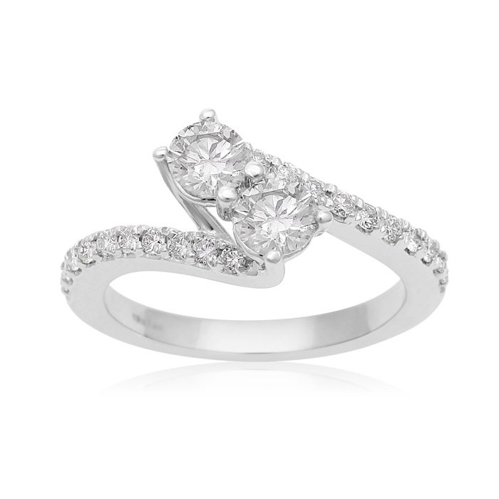 1 Carat Two Stone Diamond Bonded Love Ring In White Gold thumbnail