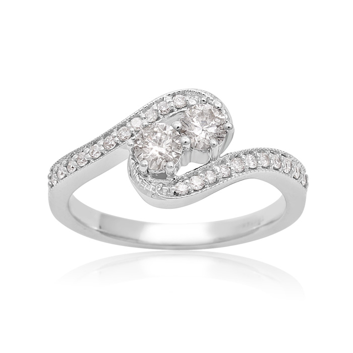 2Be Bonded Together, 1/2ct Two Diamond Plus Milgrain Prong Pave Ring In White Gold thumbnail