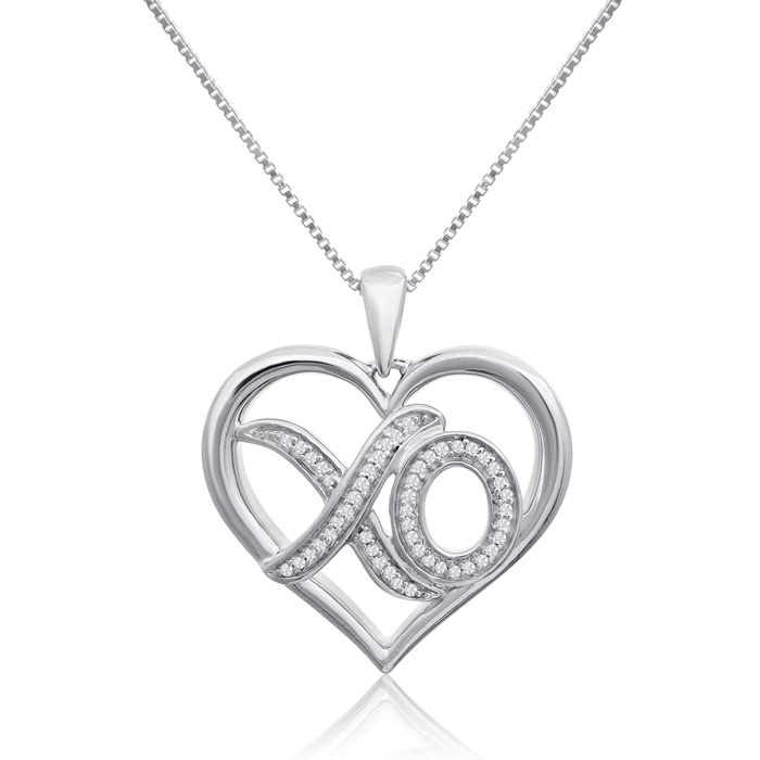 0.12 Carat Diamond XO Heart Necklace In Sterling Silver, 18 Inches