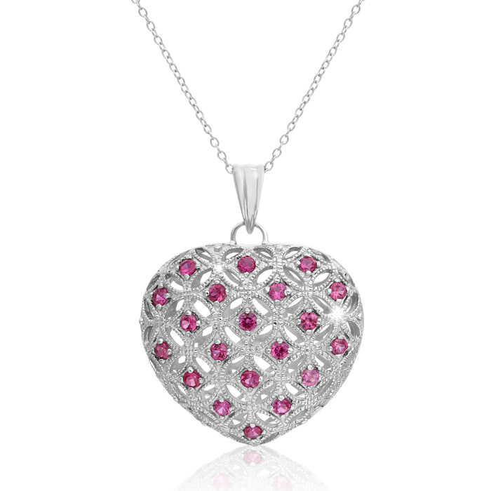 3 Carat Created Ruby Puffed Heart Necklace In Sterling Silver, 18 Inches