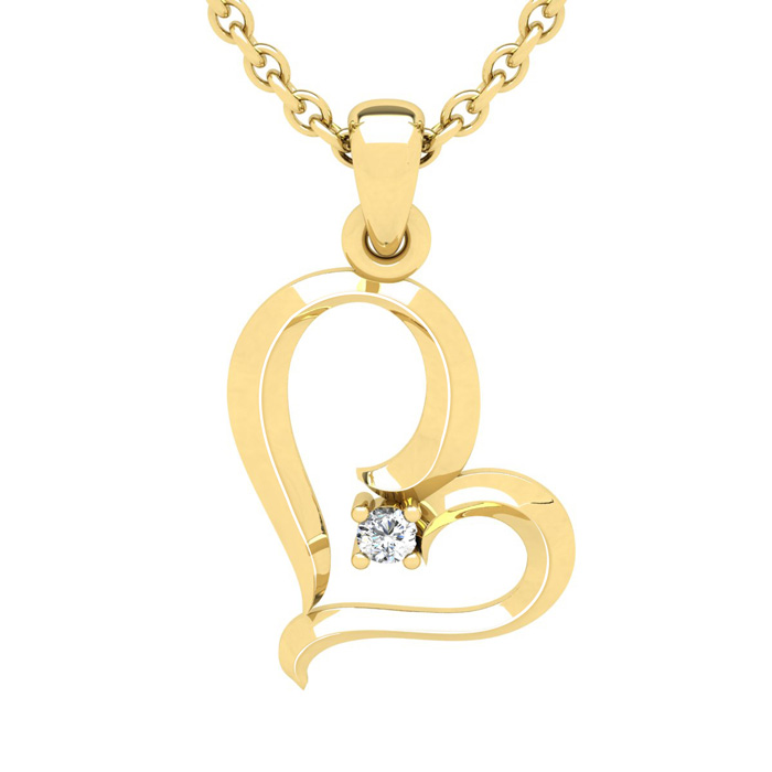 Yellow Gold Reclining Heart With Single Fiery 5 Point Diamond on 18 Inch Chain