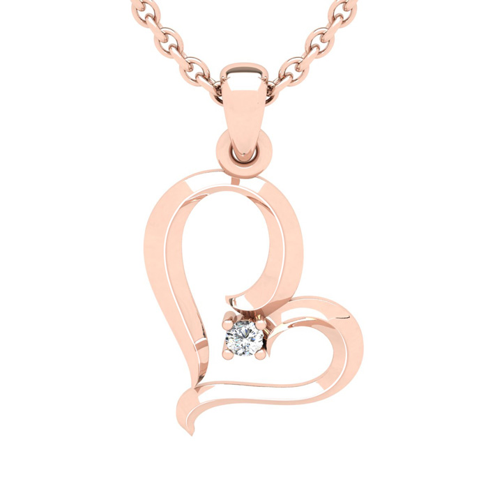 Rose Gold Reclining Heart With Single Fiery 5 Point Diamond on 18 Inch Chain